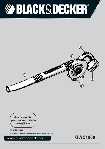 BlackandDecker Soffiante Depress- Gwc1800 - Type H1 - Instruction Manual (Ungheria)