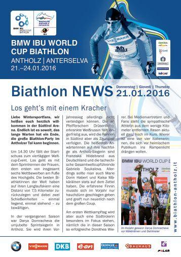 Biathlon Antholz Weltcup Stadionblatt 21.01.2016