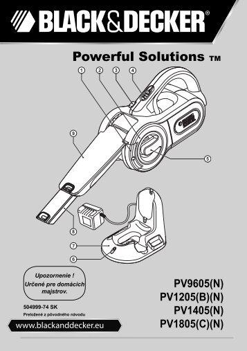 BlackandDecker Aspiratori Ricaricabili Portatili- Pv9605 - Type H1 - Instruction Manual (Slovacco)