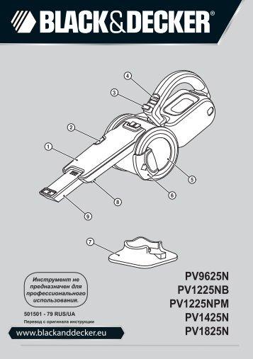 BlackandDecker Aspiratori Ricaricabili Portatili- Pv1225n - Type H1 - Instruction Manual (Russia - Ucraina)