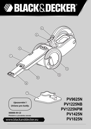 BlackandDecker Aspiratori Ricaricabili Portatili- Pv9625n - Type H1 - Instruction Manual (Czech)