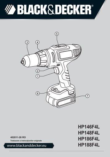 BlackandDecker Trapano Senza Cavo- Hp186f4lbk - Type H2 - Instruction Manual (Romania)