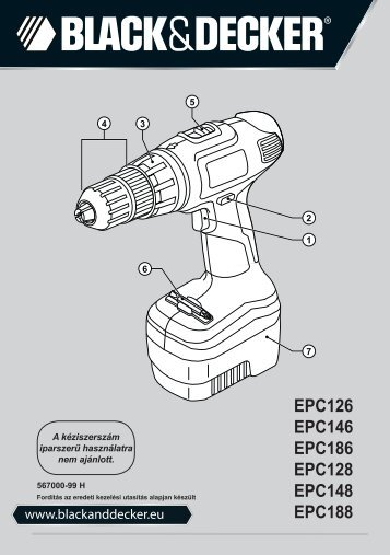 BlackandDecker Trapano Senza Cavo- Epc186 - Type H1 - Instruction Manual (Ungheria)