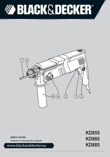 BlackandDecker Martello Ruotante- Kd855 - Type 1 - Instruction Manual (Romania)