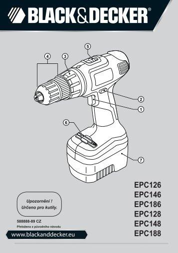 BlackandDecker Trapano Senza Cavo- Epc148 - Type H1 - Instruction Manual (Czech)