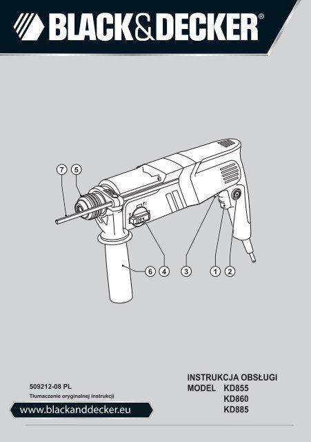 BlackandDecker Martello Ruotante- Kd855 - Type 1 - Instruction Manual (Polonia)