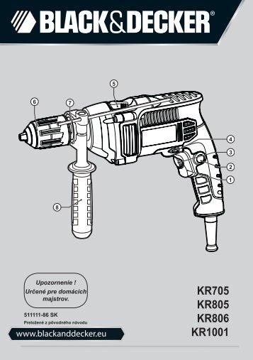 BlackandDecker Trapano Percussione- Kr1001 - Type 1 - Instruction Manual (Slovacco)