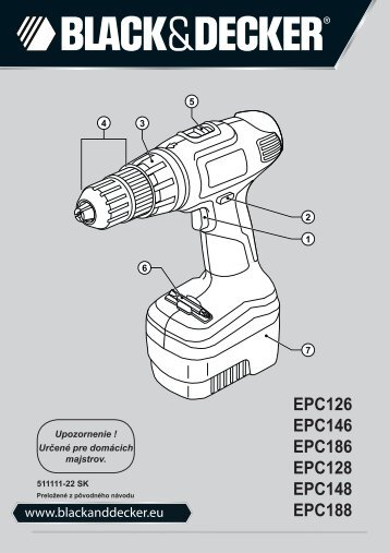 BlackandDecker Trapano Senza Cavo- Epc148 - Type H1 - Instruction Manual (Slovacco)