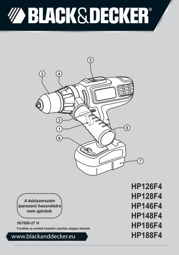 BlackandDecker Trapano Senza Cavo- Hp186f4bk - Type H1 - Instruction Manual (Ungheria)