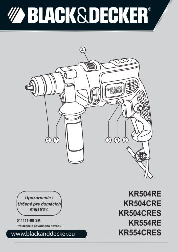 BlackandDecker Trapano Percussione- Kr504cres - Type 2 - Instruction Manual (Slovacco)
