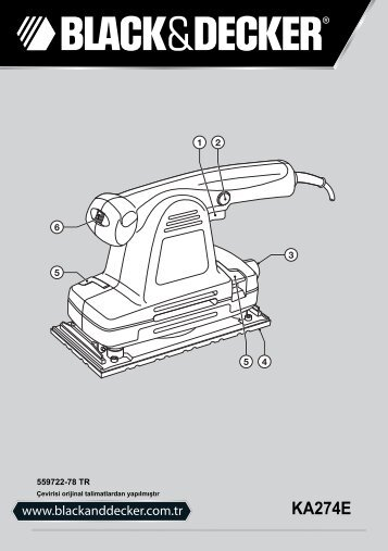 BlackandDecker Sabbiatrice Orbitale- Ka274ek(L) - Type 1 - Instruction Manual (Turco)