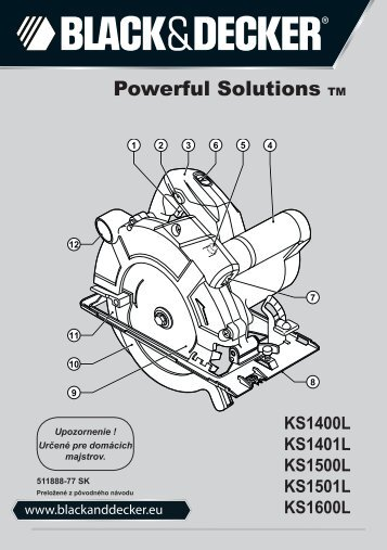 BlackandDecker Sega Circolare- Ks1600lk - Type 1 - Instruction Manual (Slovacco)