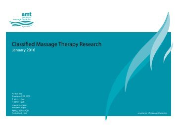 Classified Massage Therapy Research
