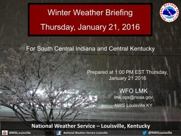 Winter Weather Briefing Thursday January 21 2016