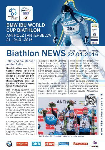 Biathlon Antholz Weltcup Stadionblatt 22.01.2016