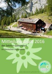 Mitteilungsblatt 2016, DAV Sektion Geltendorf