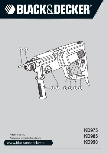 BlackandDecker Martello Ruotante- Kd975 - Type 1 - Instruction Manual (Romania)