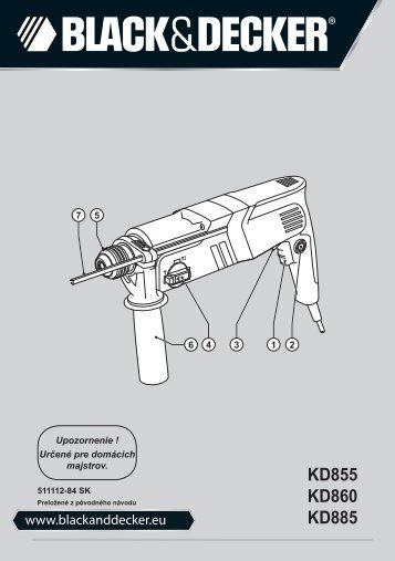 BlackandDecker Martello Ruotante- Kd885 - Type 1 - Instruction Manual (Slovacco)