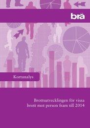 Kortanalys Brottsutvecklingen för vissa brott mot person fram till 2014