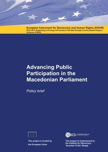 Advancing Public Participation in the Macedonian Parliament