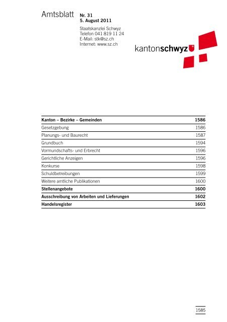 Amtsblatt Nr. 31 vom 5. August 2011 (815 - Kanton Schwyz