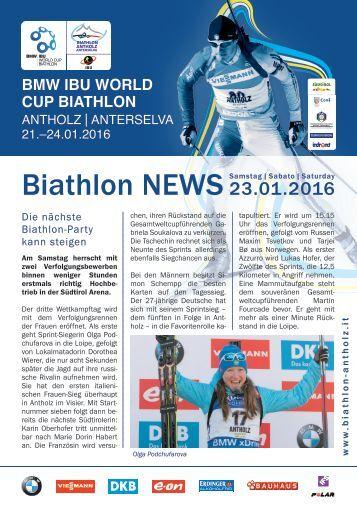 Biathlon Antholz Weltcup Stadionblatt 23.01.2016