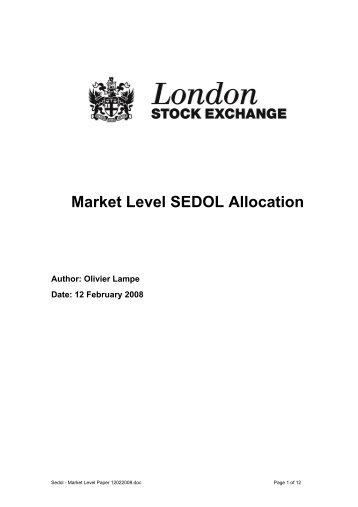 Market Level SEDOL Allocation - London Stock Exchange
