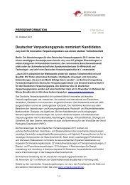 Deutscher Verpackungspreis nominiert Kandidaten