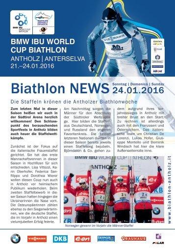 Stadionblatt Biathlon Antholz Weltcup 24.01.2016