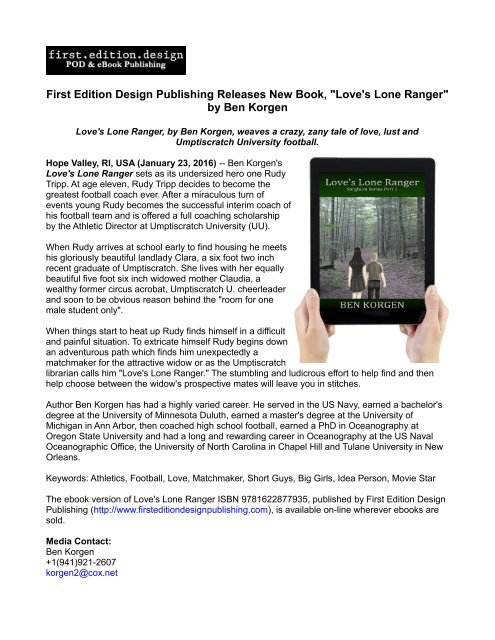 First Edition Design Publishing Releases New Book,