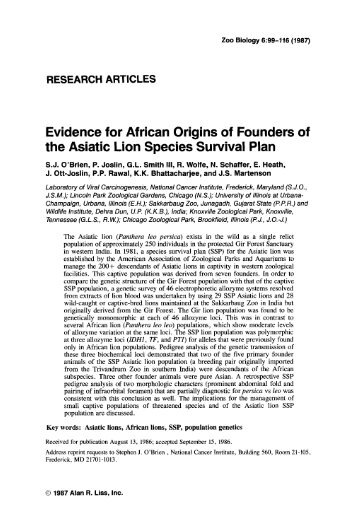 Evidence for African origins of founders of the asiatic lion species ...