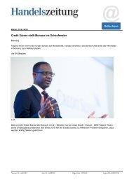 Credit Suisse stellt Monaco ins Schaufenster