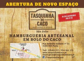 Folheto abertura Tasquinha do Caco - São João, Porto