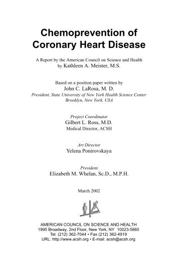 Chemoprevention of Coronary Heart Disease - American Council on ...