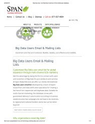 Get Customized List of Big Data using companies in USA from Span Global Services