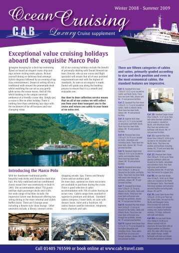 Exceptional value cruising holidays aboard the exquisite Marco Polo