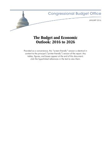 The Budget and Economic Outlook 2016 to 2026
