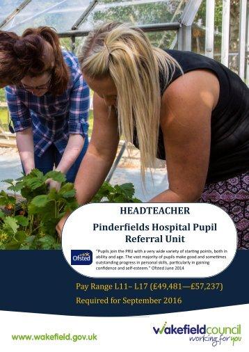 HEADTEACHER Pinderfields Hospital Pupil Referral Unit
