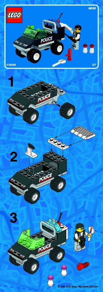 Lego POLICE HEADQUARTER - 6636 (2002) - Super Pack BI 6636 POLICE CAR 5/7