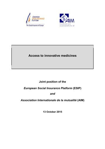 Access to innovative medicines
