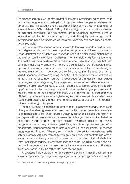 YTRINGSFRIHETENS GRENSER SOSIALE NORMER OG POLITISK TOLERANSE