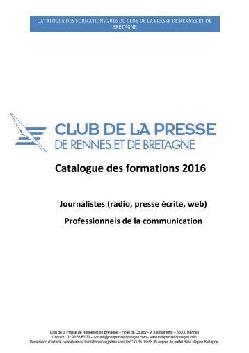 Catalogue des formations 2016