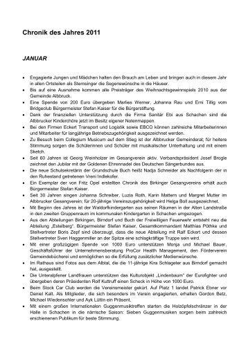 Chronik des Jahres 2011 - Gemeinde Albbruck