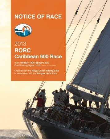 2013 RORC NOTICE OF RACE - RORC Caribbean 600 - Royal ...