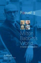 Milton Babbitt's World