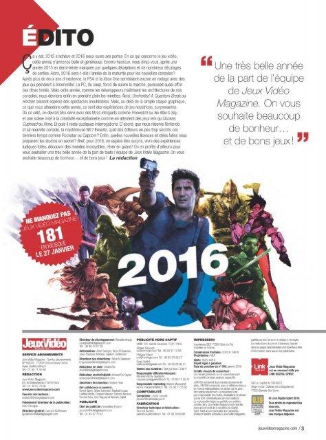 Jeux Vidéo Magazine No.180 - Janvier 2016