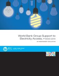 World Bank Group Support to Electricity Access