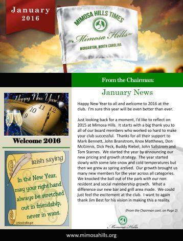 January 2016 Newsletter