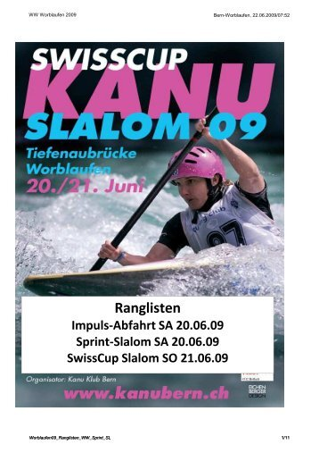 Ranglisten Impuls-Abfahrt SA 20.06.09 Sprint ... - kanu-events.ch