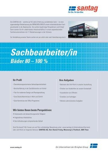 Stelleninserat SACHBEARBEITER/IN BÄDER